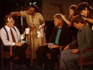 David Burnett, [Larry King, Bill Clinton, and Al Gore Preparing a Television Interview], 1992.