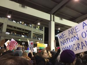 Protesters at John F. Kennedy Airport in Queens.