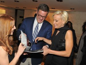"""Mika Brzezinski and Joe Scarborough attend the Hollywood Reporter celebration of """"The 35 Most Powerful People in Media"""" at the Four Season Grill Room on April 11, 2012 in New York City."""