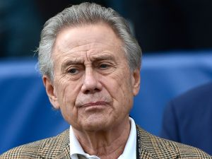 Philip Anschutz, head of The Anschutz Entertainment Group (AEG), and owner of the Los Angeles Galaxy stands during the national anthem.