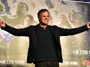 "Mark Ruffalo poses for a photo session during a press conference to promote Marvel's ""Avengers: Age Of Ultron"" in Seoul on April 17, 2015."