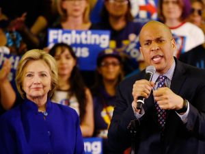 Senator Cory Booker at a campaign rally for Hillary Clinton on June 1, 2016, in Newark, New Jersey.