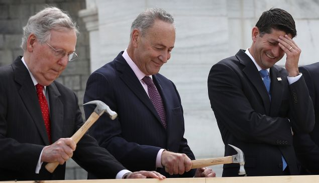 Sen. Charles Schumer with Senate Majority Leader Mitch McConnell on the left and House Speaker Paul Ryan on the right.