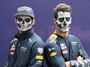 MEXICO CITY, MEXICO - OCTOBER 27: Daniel Ricciardo of Australia and Red Bull Racing and Max Verstappen of Netherlands and Red Bull Racing in full Dia de Muertos face paint during previews to the Formula One Grand Prix of Mexico at Autodromo Hermanos Rodriguez on October 27, 2016 in Mexico City, Mexico. (Photo by Mark Thompson/Getty Images)