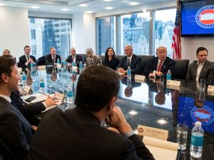 President-elect Donald Trump and Vice President-elect Mike Pence meet with technology executives at Trump Tower.