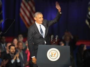 President Barack Obama delivers a farewell speech to the nation on January 10, 2017 in Chicago, Illinois. President-elect Donald Trump will be sworn in the as the 45th president on January 20.