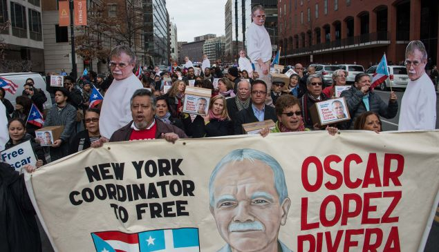 People march to demand the release of Puerto Rican nationalist Oscar Lopez Rivera near the White House in Washington, D.C. , on January 11.
