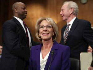 Betsy DeVos, President Trump's pick to be the next Secretary of Education, testifies during her confirmation hearing before the Senate Health, Education, Labor and Pensions Committee on Capitol Hill on January 17, 2017.