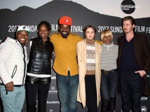 (L-R) Jason Mitchell, Dee Rees, Rob Morgan, Carey Mulligan, Mary J. Blige and Garrett Hedlund attend Mudbound.