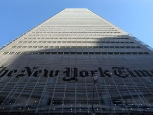 The New York Times headquarters is seen February 14, 2008 in New York City.