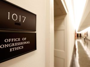 A sign for the Office of Congressional Ethics hangs on a wall October 30, 2009 in Washington, DC.