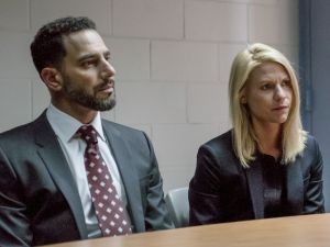 "Patrick Sabongui as Reda Kazem and Claire Danes as Carrie ""barely controlling her cry face"" Mathison on Homeland."