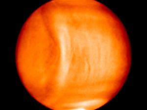 Strange shape in Venus' atmosphere.