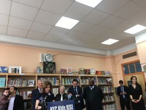 Media and Entertainment Commissioner Julie Menin, Chancellor Carmen Fariña and Deputy Mayor of Strategic Initiatives Richard Buery launch the NYC Child Savings Account initiative at PS 171 in Queens.