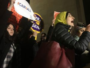 Arab-American activist Linda Sarsour and other activists at CAIR-NY's emergency rally against President Donald Trump's Muslim travel ban.