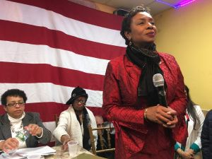 Brooklyn Congresswoman Yvette Clarke during her emergency meeting on President Trump's Muslim travel ban.