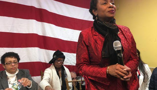 Brooklyn Congresswoman Yvette Clarke during her emergency meeting on President Trump's Muslim travel ban.