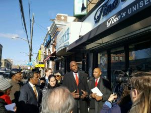 SBS Commissioner Gregg Bishop leads a storefront improvement tour with elected officials in the Rockaway.
