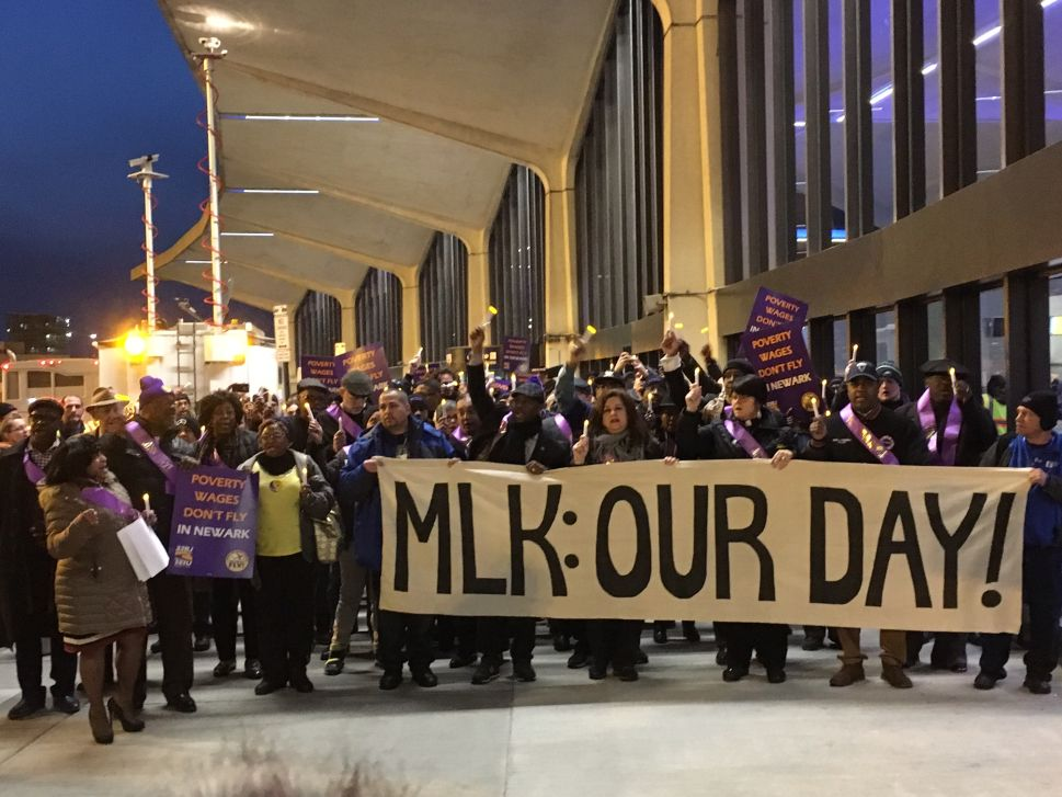 Airport Workers Honor Martin Luther King During Newark Rally