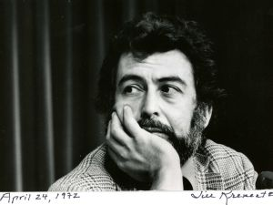 "Nat Hentoff photographed by Jill Krementz on April 24, 1974 at a conference in New York City. Hentoff, moderated a panel called ""Can Television Cover Local News?"