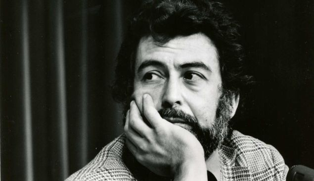 """Nat Hentoff photographed by Jill Krementz on April 24, 1974 at a conference in New York City. Hentoff, moderated a panel called """"Can Television Cover Local News?"""