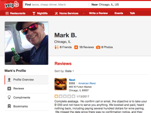 Investment banker Mark Brady took Chicago hotspot Next to task on Yelp.