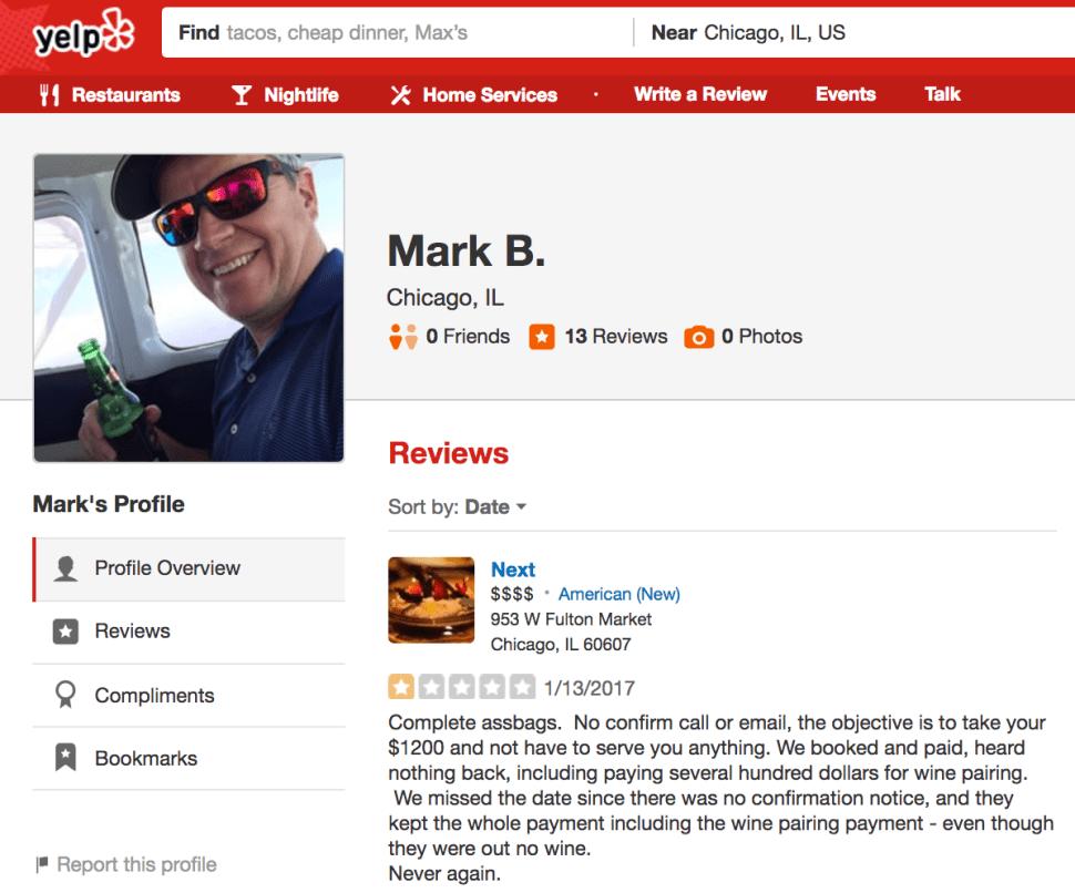 Hotshot Banker Writes Slashing Yelp Review of Posh Restaurant; Owner Fires Back