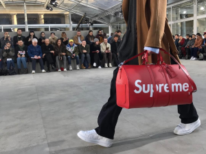 A bag from Louis Vuitton's collaboration with Supreme.