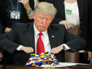 """Trump prototyping his weekend wall project."" ""'Like this, but bigly'"""