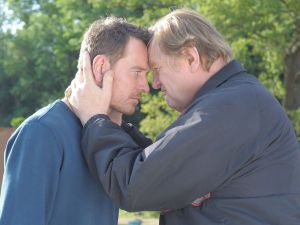 Michael Fassbender as Chad Cutler and Brendan Gleeson as Colby Cutler.