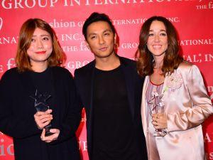 Womenswear award presenter Prabal Gurung (center) and winners Claudia Li (L) and Alejandra Alonso Rojas (R)