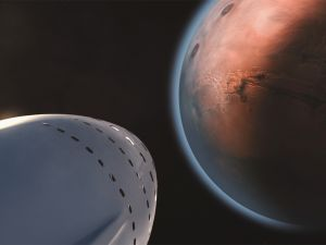 Artist concept of a SpaceX human mission to Mars.