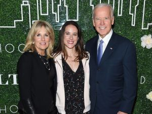 NEW YORK, NY - FEBRUARY 07: Dr. Jill Biden, Livelihood founder Ashley Biden and Vice President Joe Biden attend the GILT and Ashley Biden celebration of the launch of exclusive Livelihood Collection at Spring Place on February 7, 2017 in New York City. (Photo by Jamie McCarthy/Getty Images for GILT)