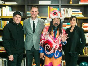 Marc Ecko, MCA Chief Curator Michael Darling, Takashi Murakami, and MCA Director Madeleine Grynsztejn.