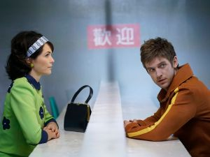 Katie Aselton as Amy Haller and Dan Stevens as David Haller.