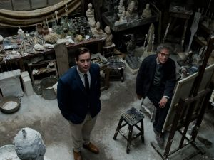 Geoffrey Rush as Alberto Giacometti and Armie Hammer as James Lord in Stanley Tucci's Final Portrait.