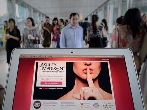 The Ashley Madison dating website displayed on a laptop in Hong Kong.