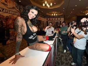 LAS VEGAS, NV - JANUARY 22: (EDITORS NOTE: Image contains nudity.) Adult film actress and model Bonnie Rotten poses for attendees at the Digital Playground booth at the 2015 AVN Adult Entertainment Expo at the Hard Rock Hotel & Casino on January 22, 2015 in Las Vegas, Nevada. (Photo by Ethan Miller/Getty Images)