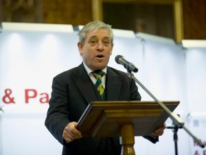 """LONDON, UNITED KINGDOM - FEBRUARY 05: John Bercow, the Speaker of the House of Commons, makes an address during the opening ceremony for the four surviving original parchment engrossments of the 1215 Magna Carta going on display to mark the 800th anniversary of the sealing of Magna Carta at Runnymede in 1215, at the Houses of Parliament on February 5, 2015 in London, United Kingdom. The four original copies of the charter have been put on display together for one day on Thursday for the opening of the exhibition """"Magna Carta and Parliament"""" which runs during February. The Magna Carta established the timeless principle that no individual, even a monarch, is above the law. In 1215, 40 rebellious barons came together to declare their rights to King John, and he reluctantly consented to their demands in an attempt to avoid civil war."""