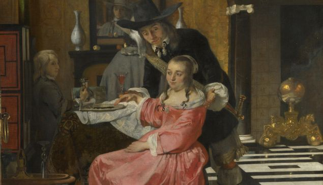 An Interior, with a Woman refusing a Glass of Wine, c. 1660.