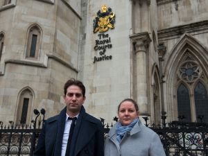 Charles Keidan and Rebecca Steinfeld depart the High Court.