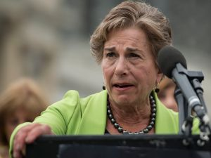 WASHINGTON, DC - JULY 12: Congresswoman Jan Schakowsky joins members of MoveOn.org and members of Congress at an event to demand congress renew an assault weapons ban, along with delivering more than one million signed petitions, at United States Capitol Building on July 12, 2016 in Washington, DC.