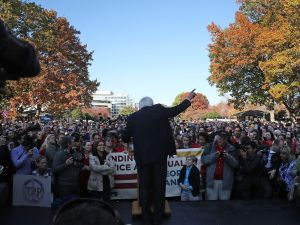 "Sen. Bernie Sanders speaks during a rally on Capitol Hill to ""demand economic and social justice and equality."""