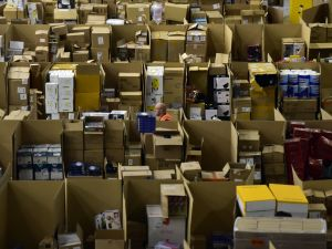 An employee works at the Amazon electronic commerce company's logistics center.