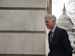 WASHINGTON, DC - FEBRUARY 02: U.S. Supreme Court nominee Judge Neil Gorsuch arrives for meetings with Senate members on Capitol Hill February 2, 2017 in Washington, DC. President Donald Trump nominated Judge Gorsuch to the Supreme Court to fill the seat that was left vacant with the death of Associate Justice Antonin Scalia in February 2016.