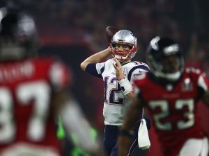 HOUSTON, TX - FEBRUARY 05: Tom Brady #12 of the New England Patriots passes against the Atlanta Falcons during Super Bowl 51 at NRG Stadium on February 5, 2017 in Houston, Texas.