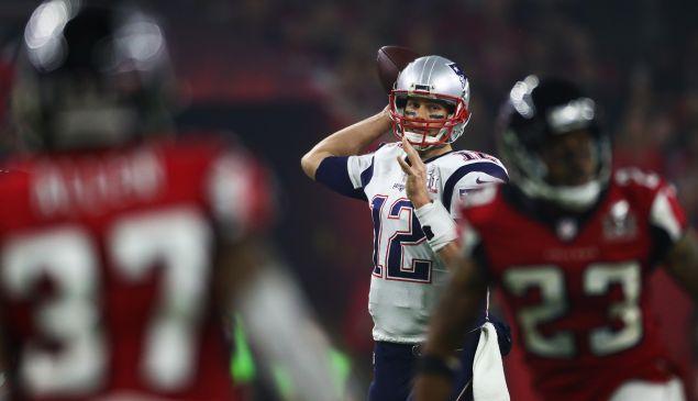 HOUSTON, TX - FEBRUARY 05: Tom Brady #12 of the New England Patriots passes against the Atlanta Falcons during Super Bowl 51 at NRG Stadium on February 5, 2017 in Houston, Texas.