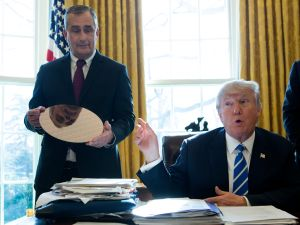 President Donald Trump speaks during a meeting with Intel CEO Brian Krzanich at the White House February 8, 2017. Krzanich announced an investment of $7 billion to build a factory in Chandler, Arizona.