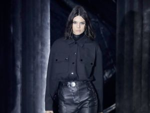 Kendall Jenner wears an all-black Alexander Wang look.