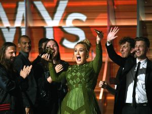 Adele, winner of Album of the Year for '25,' speaks onstage during The 59th GRAMMY Awards at STAPLES Center on February 12, 2017 in Los Angeles, California.